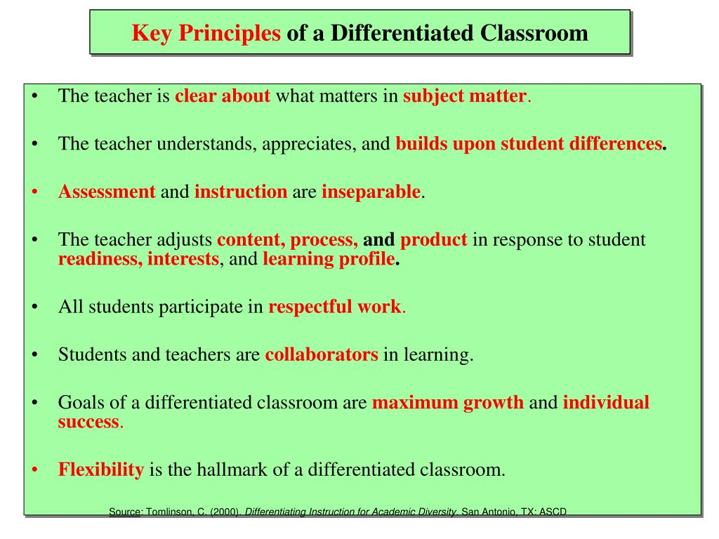 10 principles of differentiated instruction