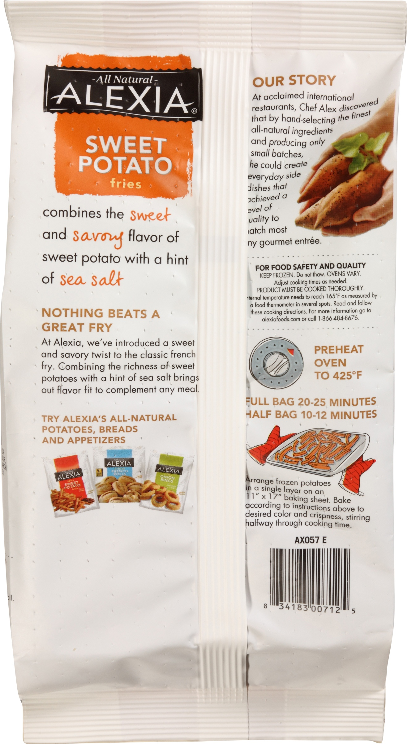 alexia sweet potato waffle fries cooking instructions