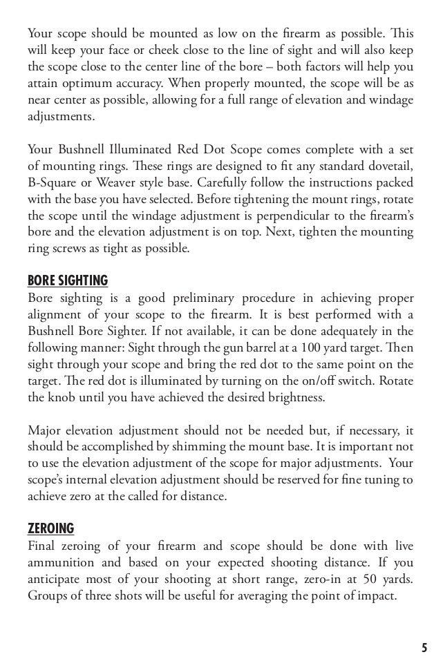 bushnell sportview instruction manual