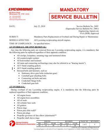 lycoming service instruction 1132b