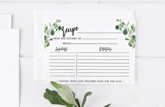 bridal shower recipe card instructions free printable