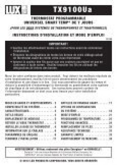 instruction francais pour thermopompe lenox