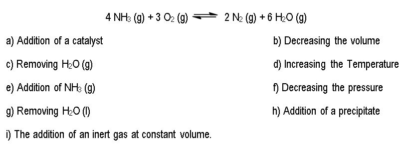 calculating with le chatelier instructions complete the following