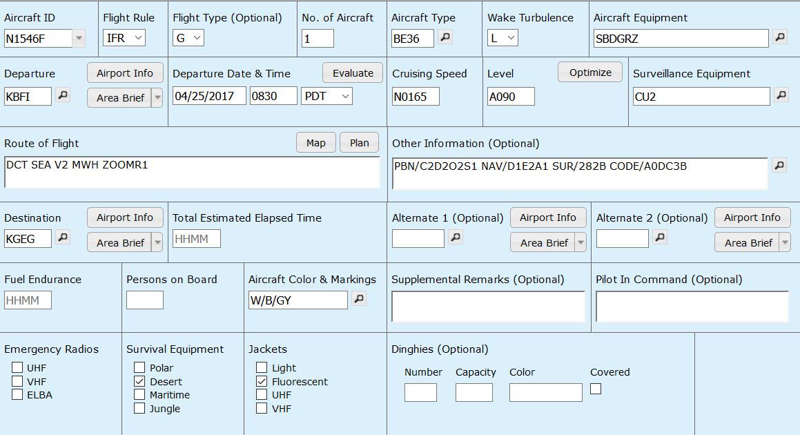 flight plan filing instructions