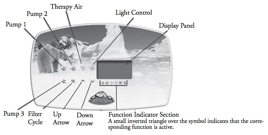 yukon arctic spa hot tub control panel instructions