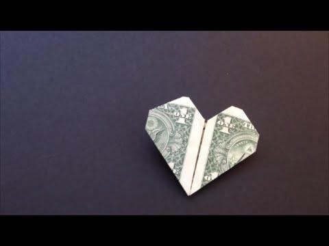 origami heart instructions dollar bill