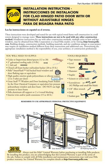 pella vinyl windows installation instructions