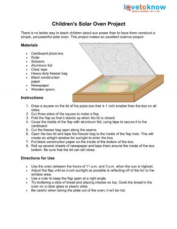 solar cooker instructions pizza box