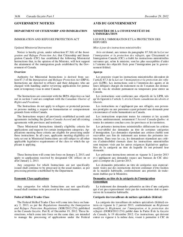 cic canada instructions ministerielles