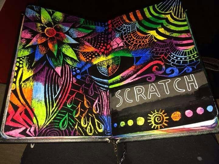 crayon scratch art instructions