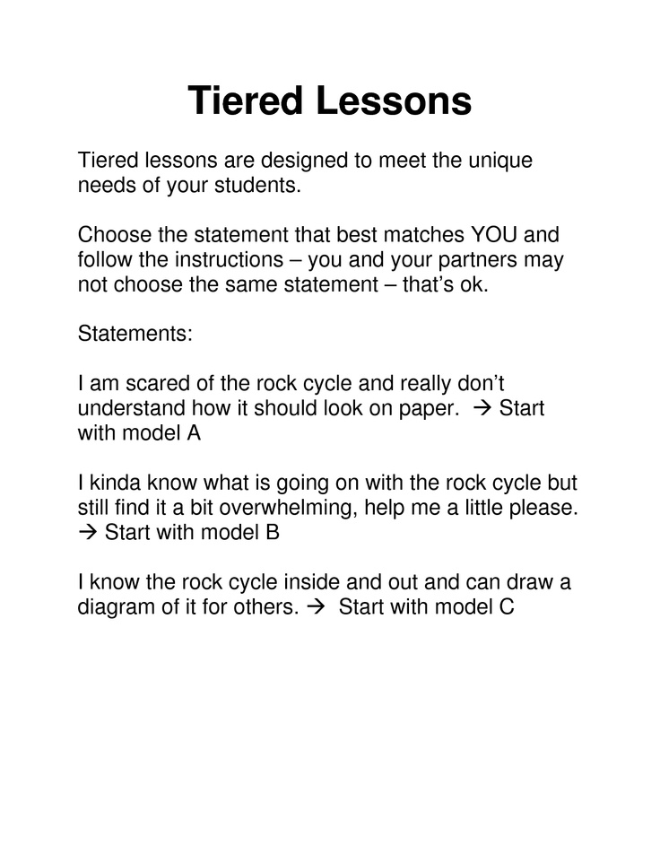examples tiered activities differentiated instruction