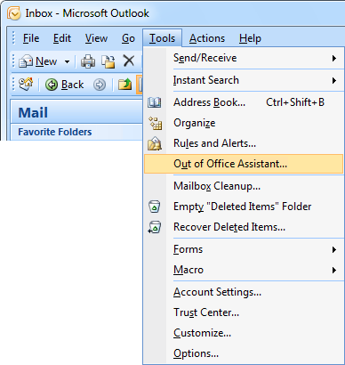 microsoft outlook 2010 out of office reply instructions