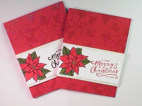 poinsettia stampin up christmas card instructions
