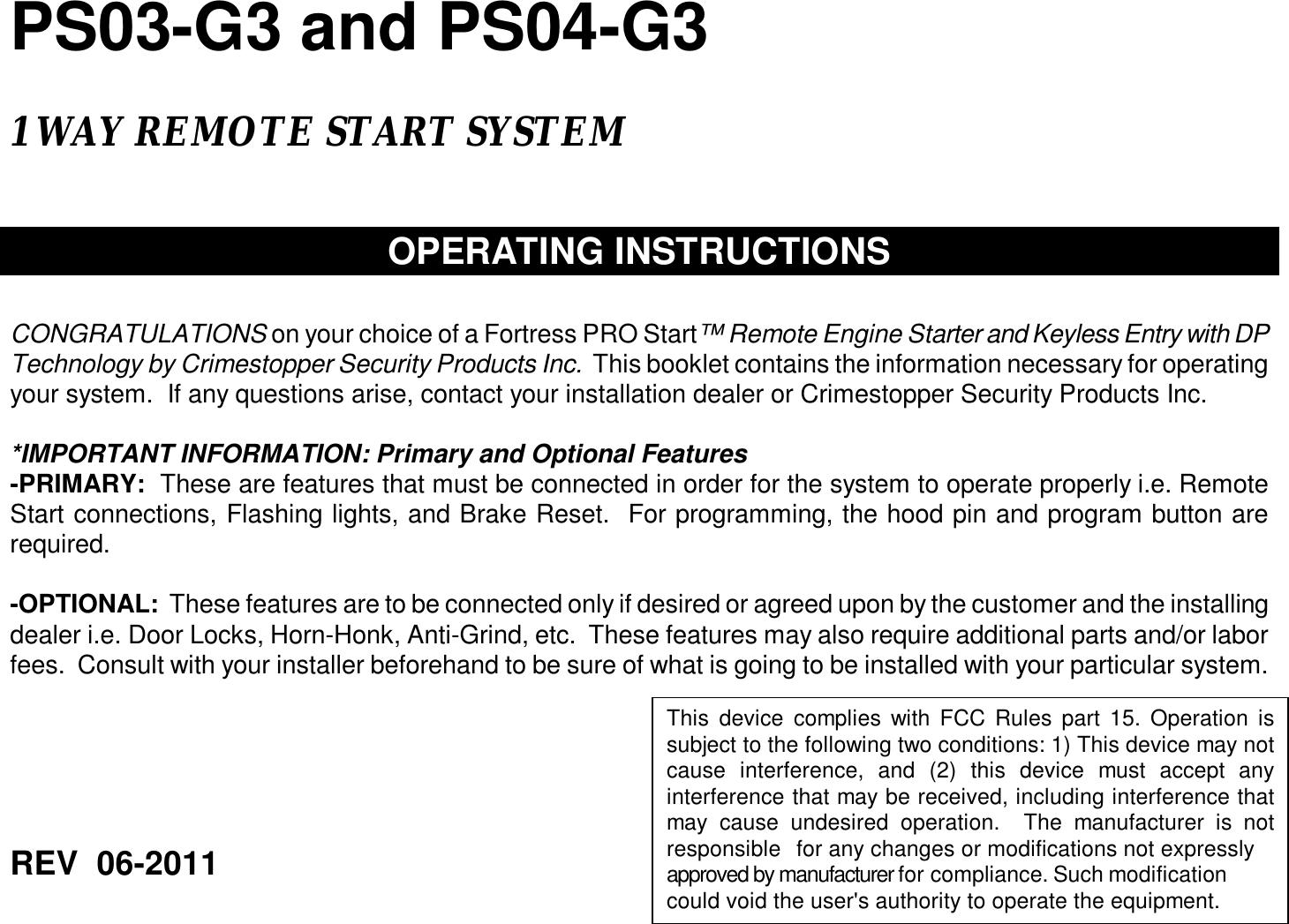 prostart remote starter programming instructions