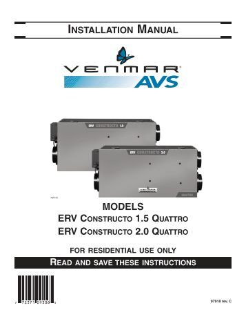 venmar constructo operating instructions