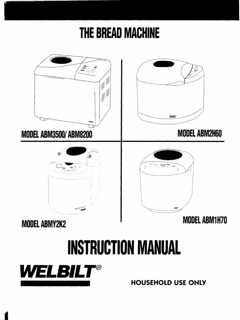 welbilt bread machine instructions manual